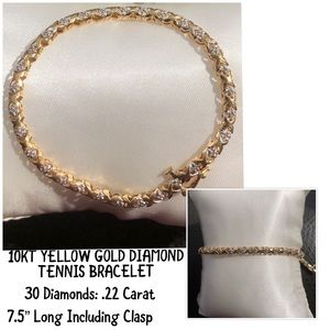 Jewelry - 10KT Yellow Gold .22 Carat Diamond Tennis Bracelet